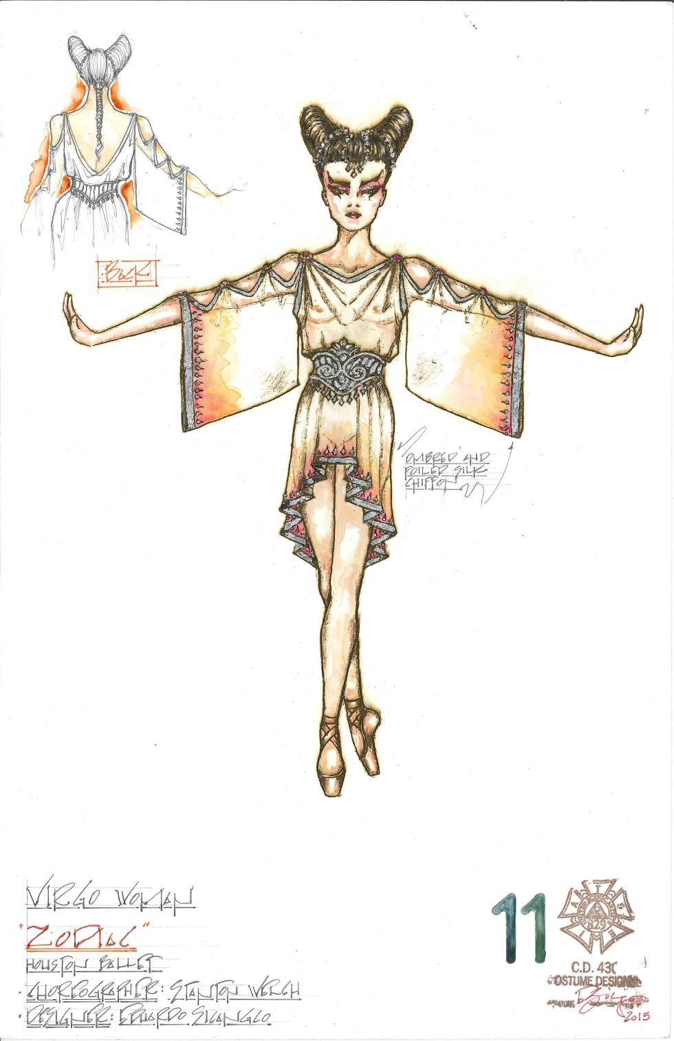 Virgo (Woman); Costume Sketches by Eduardo Sicangco