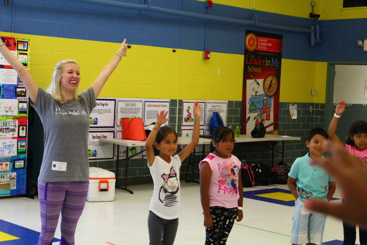 Ellie Blanchat teaching during this summer's , Jump, Jive, Move and Groove collaboration.